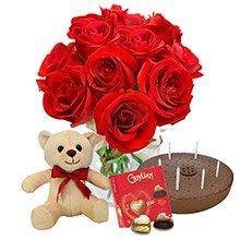 Surpresa de Rosas Vermelhas, Pelúcia, Bolo e Chocolate