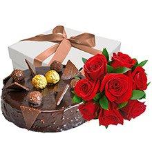 Bolo Ferrero Rocher e Rosas Vermelhas