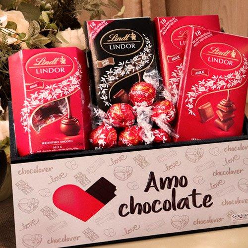 Cesta Amo Chocolates Lindt
