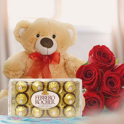 Kit ursinho, chocolate e rosas vermelhas