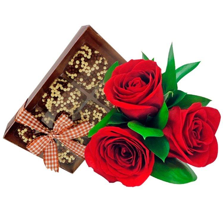 Buquê de Rosas Vermelhas com Brigadeiro Crispe