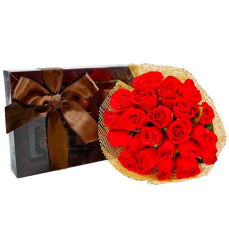 Buquê de Mini Rosa com Caixa Chocolate Irresistível
