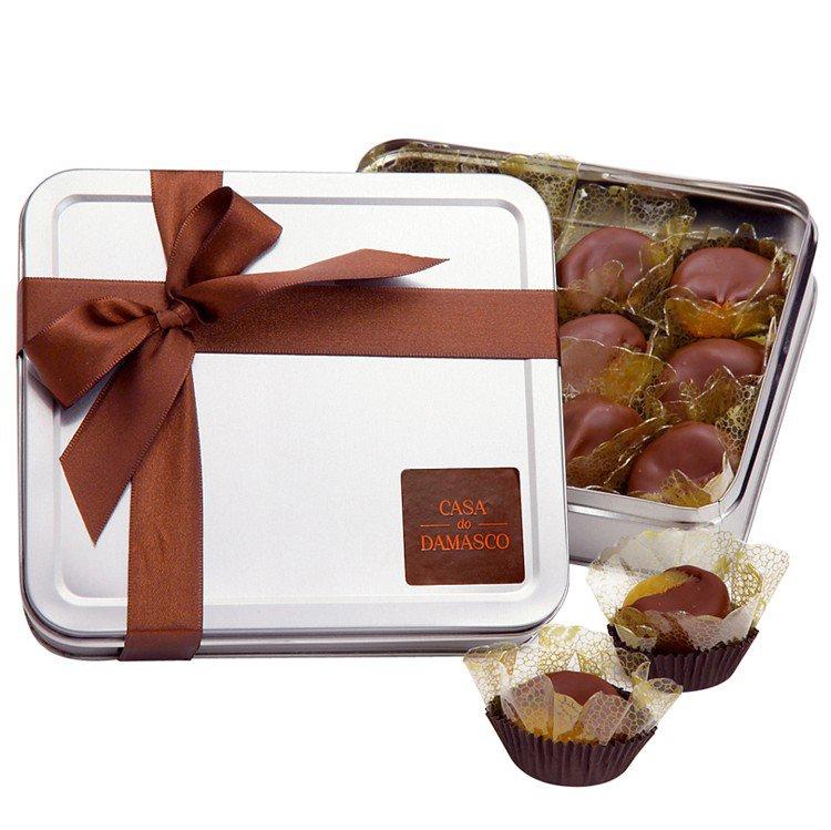Lata de Damascos com Doce de Leite & Chocolate 12 unidades