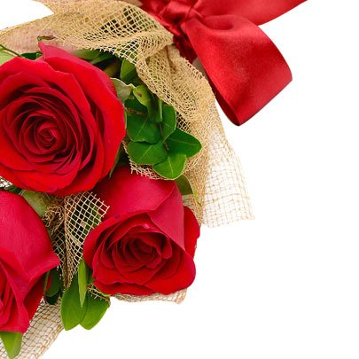 Buquê Presente com 3 Rosas Vermelhas Colombianas