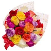 Buquê Esplêndido de Rosas Colombianas Coloridas