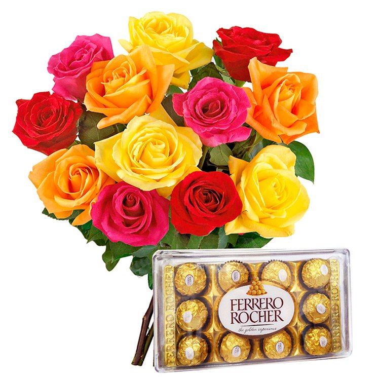 Buquê de 12  Rosas Coloridas com Ferrero Rocher