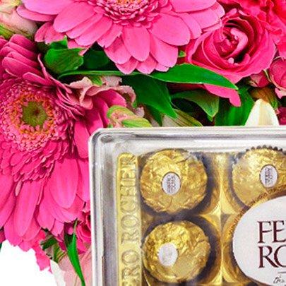 Buquê Flores do Campo Pink com Ferrero Rocher