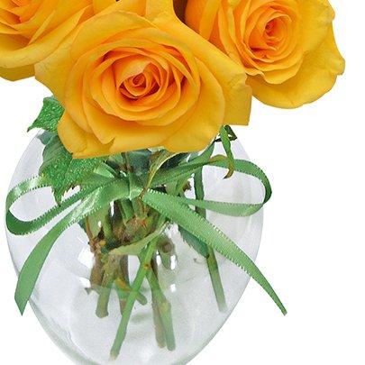 Surpresa de Rosas Amarelas no Vaso