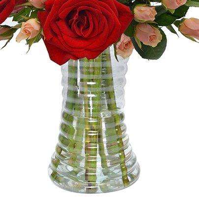 Elegante Rosas Vermelhas e Champanhe no Vaso