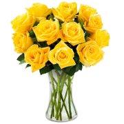 Luxuosas 12 Rosas Amarelas no Vaso