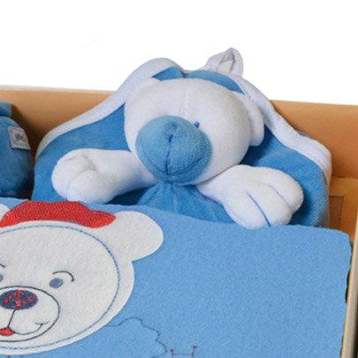 Kit Manta, Cheirinho e Pantufa Urso Azul