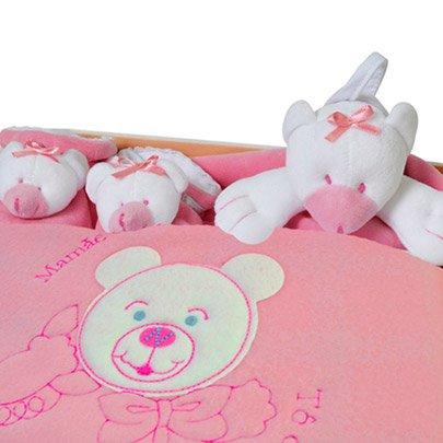 Kit Manta, Cheirinho e Pantufa Urso Rosa