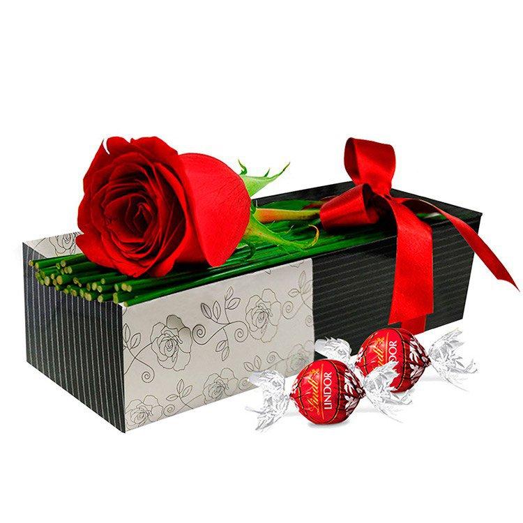 Uma Rosa com Carinho e Chocolate Lindt
