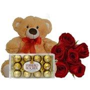 Buquê de 6 Rosas Vermelhas com Pelúcia e Chocolate