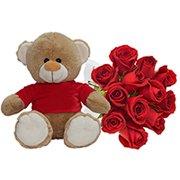 Urso com 12 Rosas Vermelhas