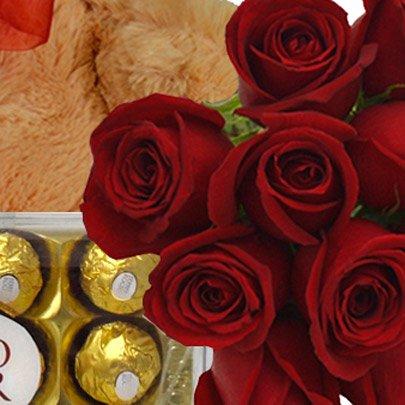 Buquê 12 Rosas Vermelhas, Espumante, Pelúcia e Chocolate