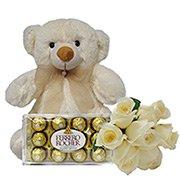 Buquê de 7 Rosas Brancas com Pelúcia e Chocolate