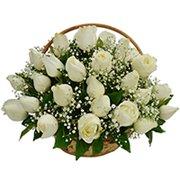 Cesta de 36 Rosas Brancas
