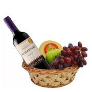 Cesta Vinho, Queijo e Frutas