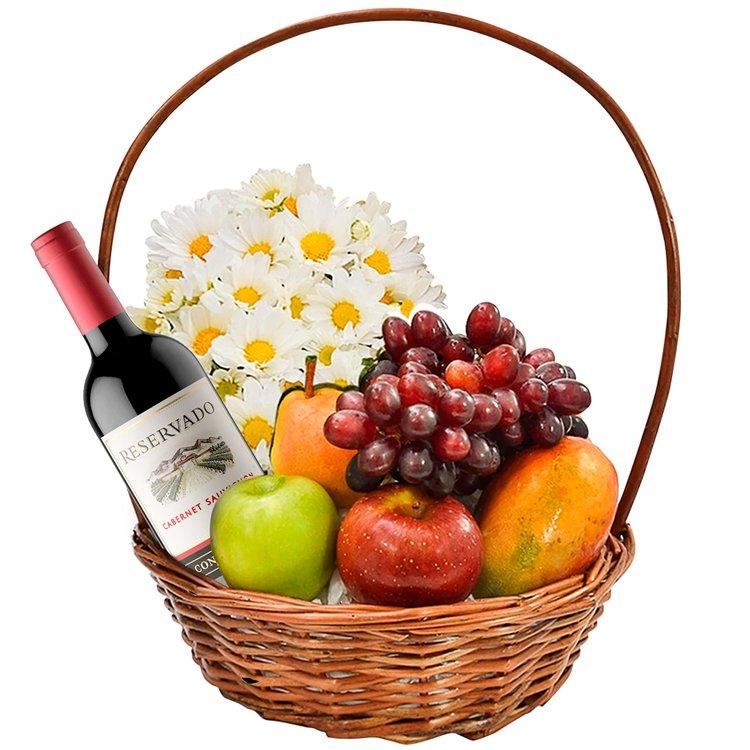 Cesta Frutas e Vinho