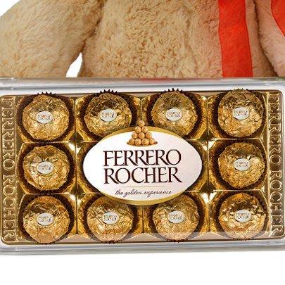 Buquê de 8 Gerberas Coloridas, Chocolate, Pelúcia e Espumante