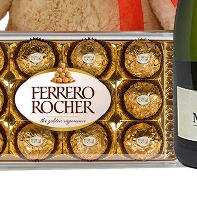 Buquê de 8 Gerberas Vermelhas, Chocolate, Pelúcia e Espumante