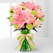 Vaso com Flores e Lírios Rosa Internacional