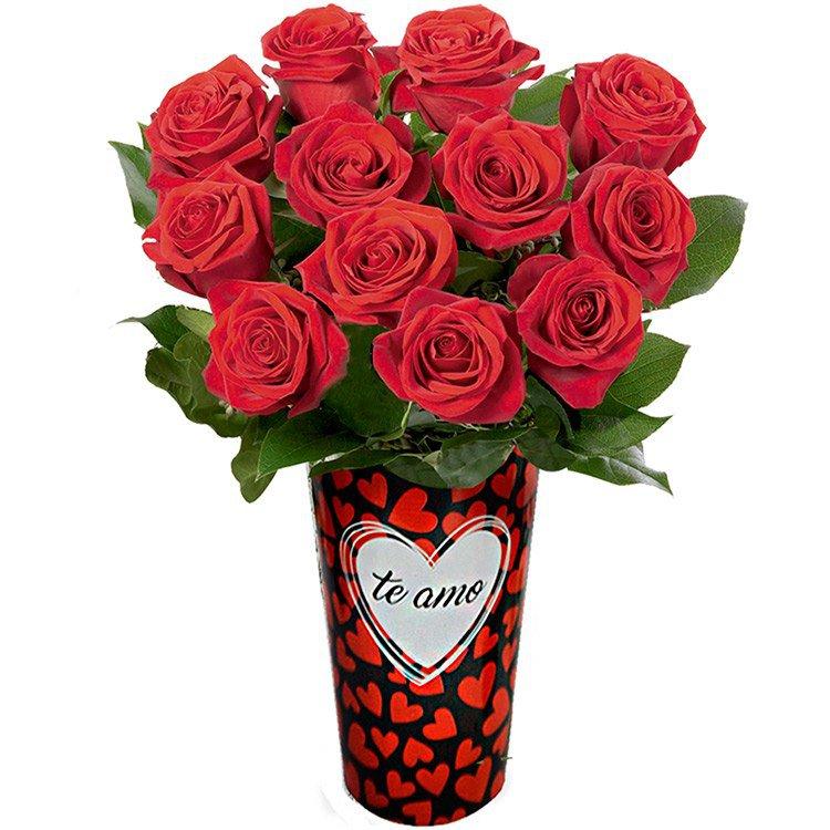 Amoroso Arranjo de Rosas no Vaso