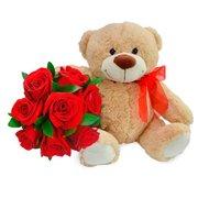 Buquê de 8 Rosas Vermelhas e Pelúcia