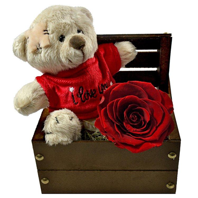 Baú Love e Rosa Encantada Vermelha