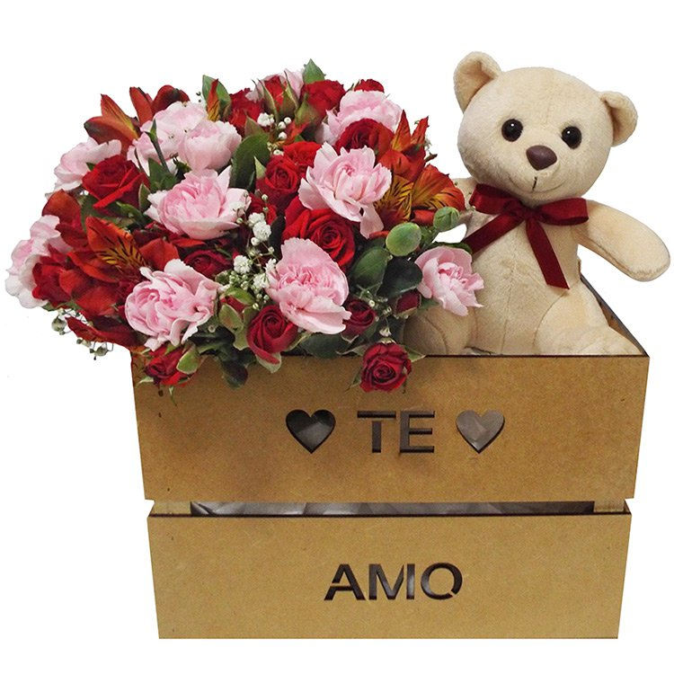 Kit Surpresa do Amor com Buquê de Mix de Flores