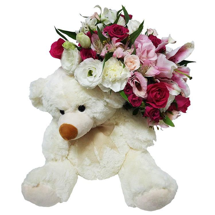 Urso Surpresa das Flores Pink