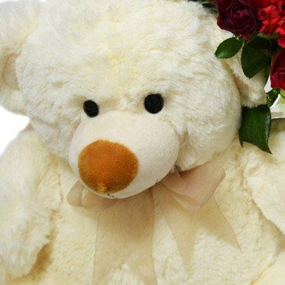 Urso Surpresa das Flores Vermelho