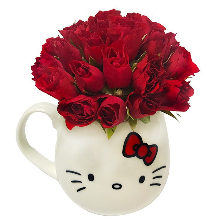 Caneca Hello Kitty com Rosas