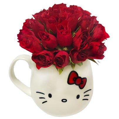 Caneca Hello Kitty com Rosas