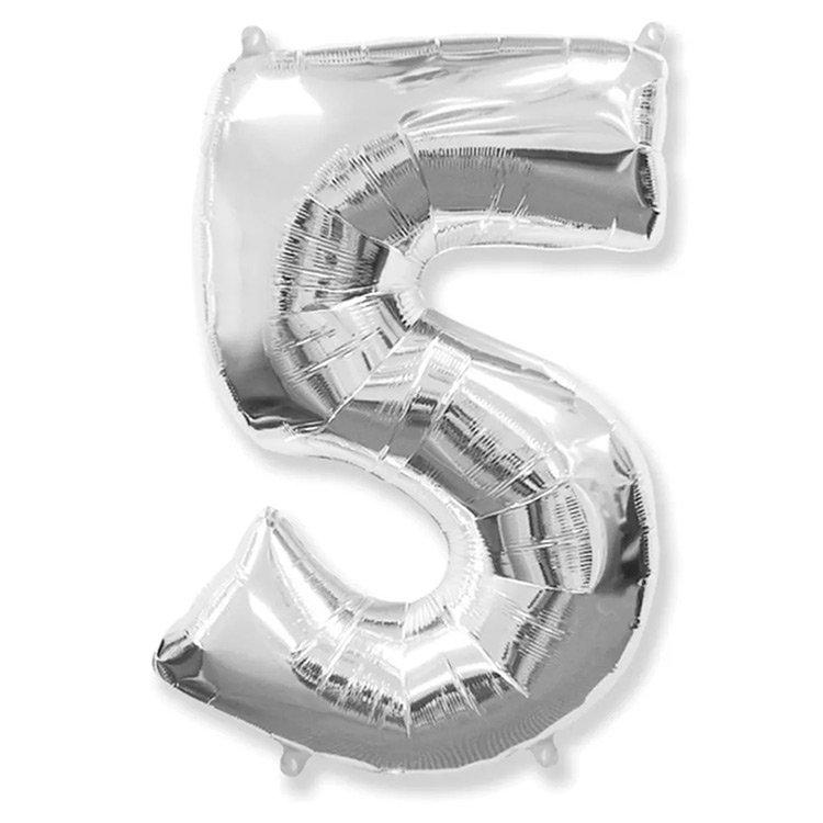 Balão Prata Número 5