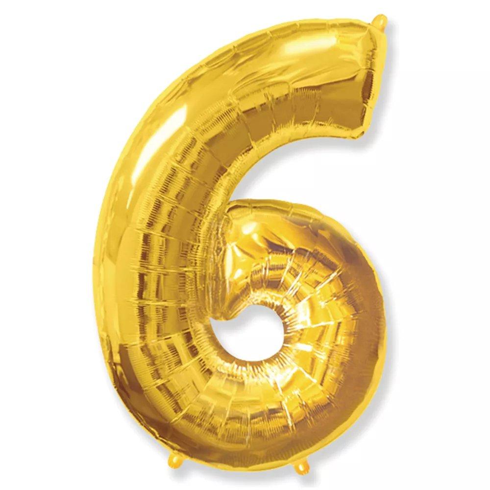 Balão Dourado Número 6