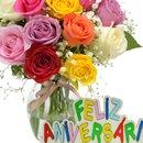 Delicado de Rosas Feliz Aniversário