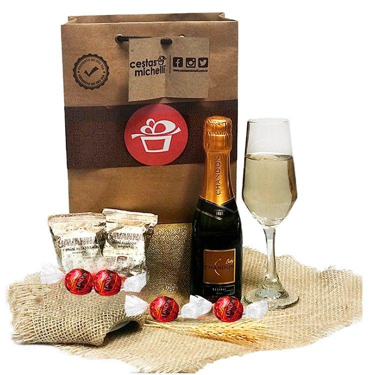 Kit com Champagne na Sacola Kraft