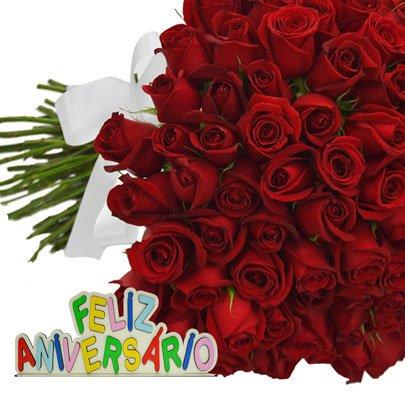 Buquê de 100 Rosas Feliz Aniversário