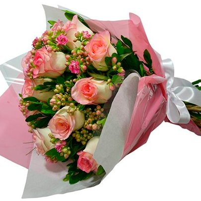 Buquê de Rosas e Kalachoe Cor de Rosa