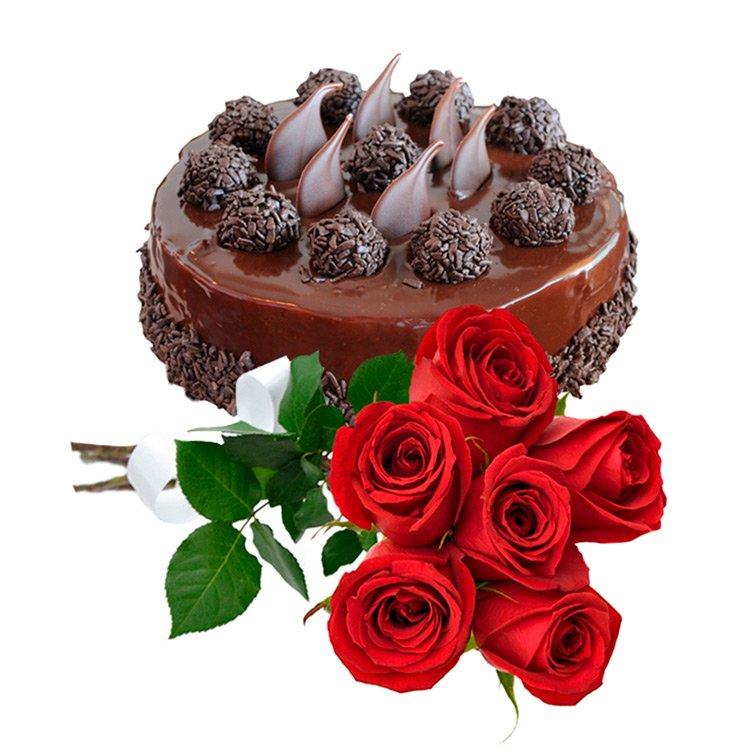 Buquê de 6 Rosas Vermelhas e Bolo de Chocolate