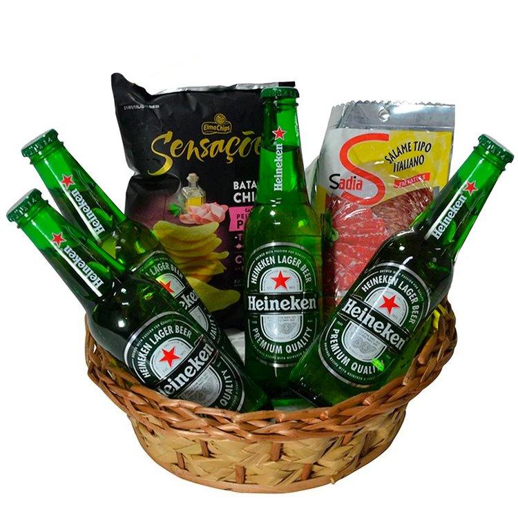 Cesta de Cerveja Heineken e Petiscos