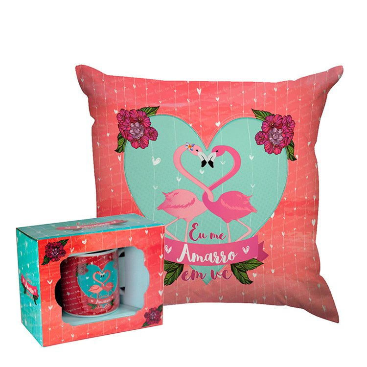 Kit Flamingos Almofada e Caneca
