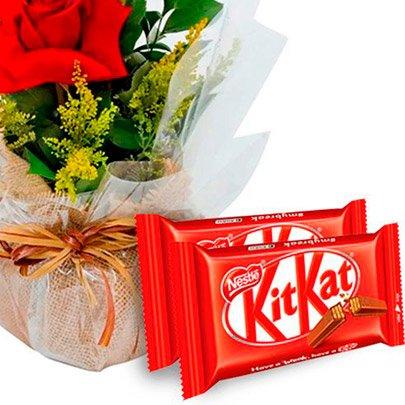 Arranjo 3 Lindas Rosas e Kit Kat