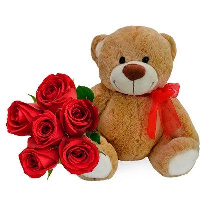 Buquê de 6 Rosas Vermelhas e Pelúcia Dudu