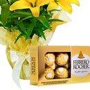 Lírios Amarelos Plantados e Chocolate Ferrero