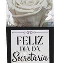 Rosa Encantada Branca Feliz dia da Secretária