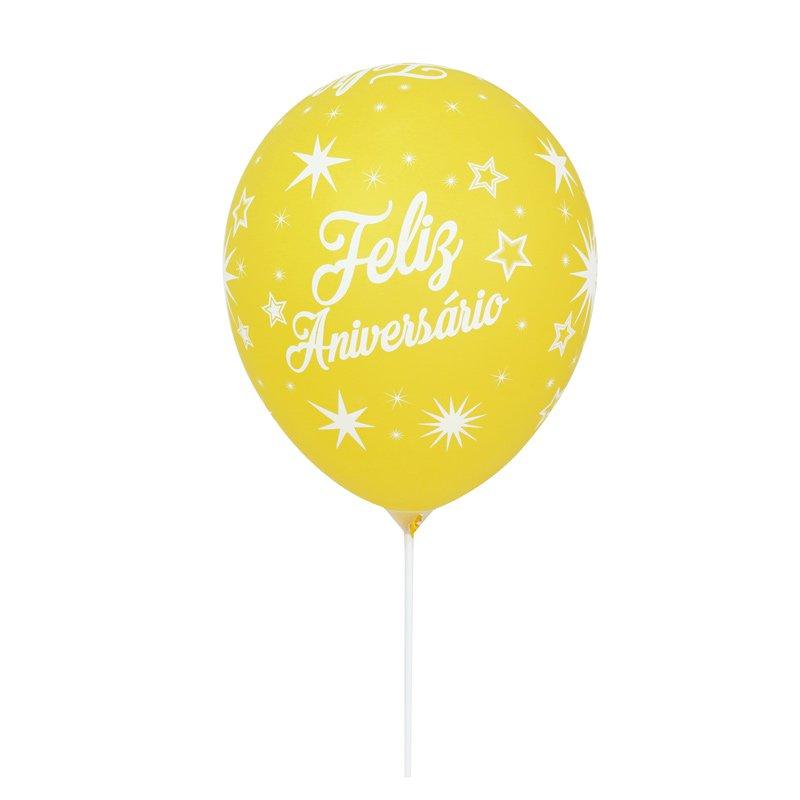Balão Latex Feliz Aniversário Amarelo