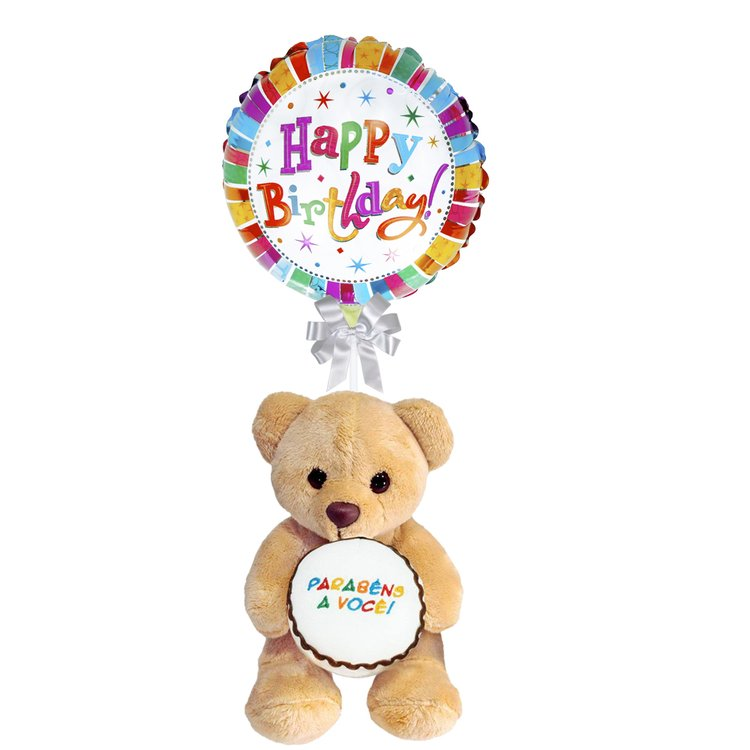 Balão Happy Birthay e Urso Bolo